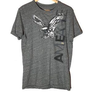 American Eagle Gray Eagle Aplica Shirt Sleeve Tee